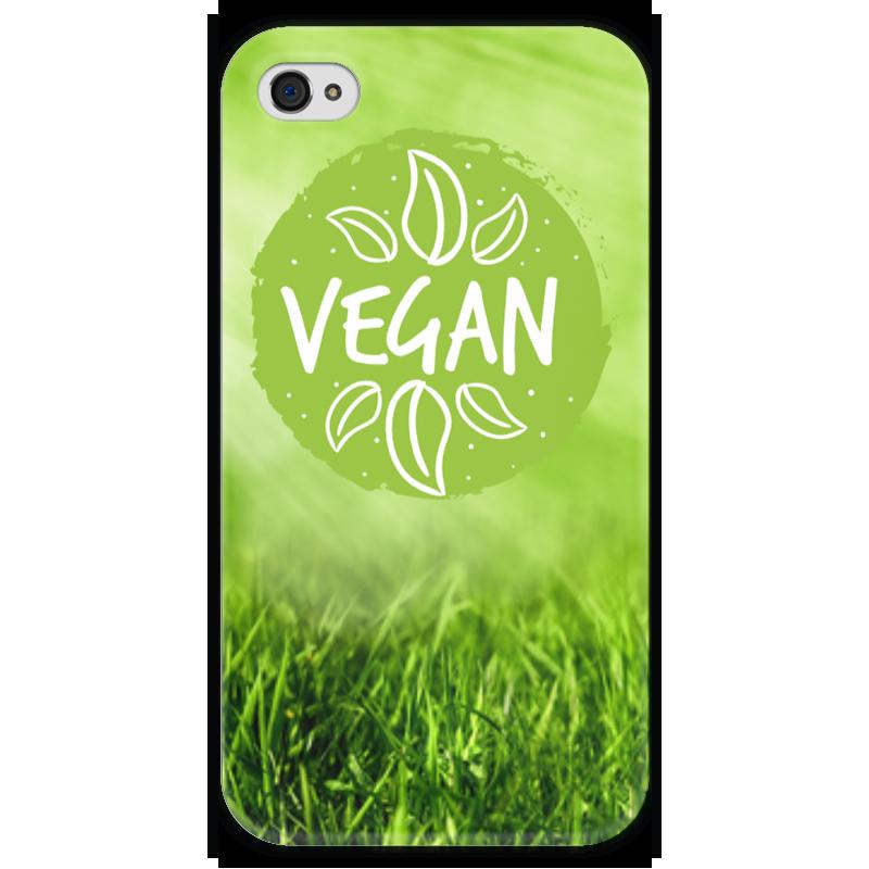 Чехол для iPhone 4 глянцевый, с полной запечаткой Printio Go vegan! стоимость