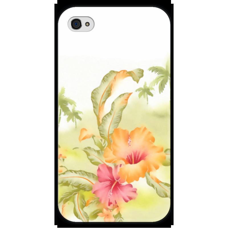 Чехол для iPhone 4 глянцевый, с полной запечаткой Printio Тропические цветы, пальмы.