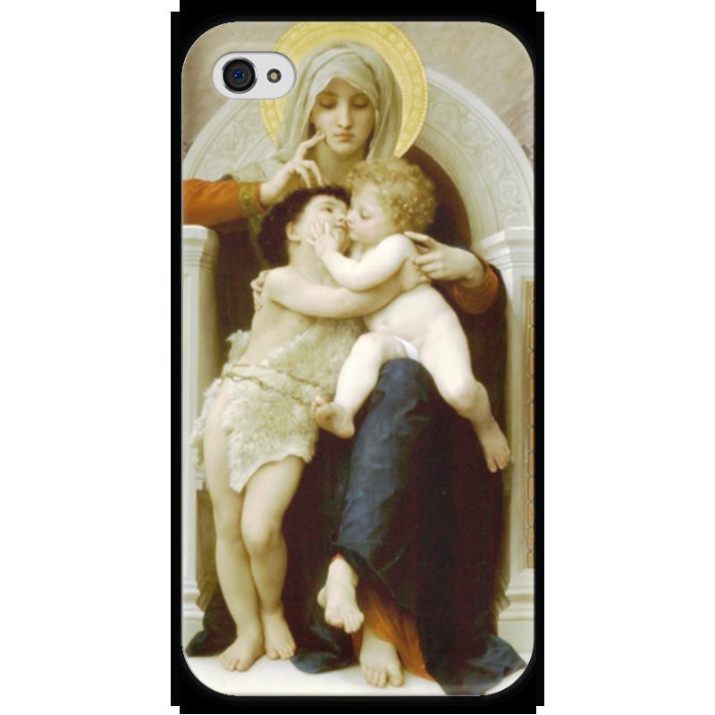 Чехол для iPhone 4 глянцевый, с полной запечаткой Printio Мадонна, иисус и иоанн креститель