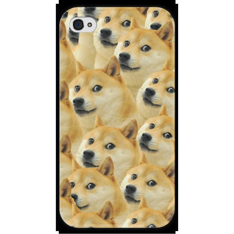 Чехол для iPhone 4 глянцевый, с полной запечаткой Printio Doge купить акиту ину от японских родителей