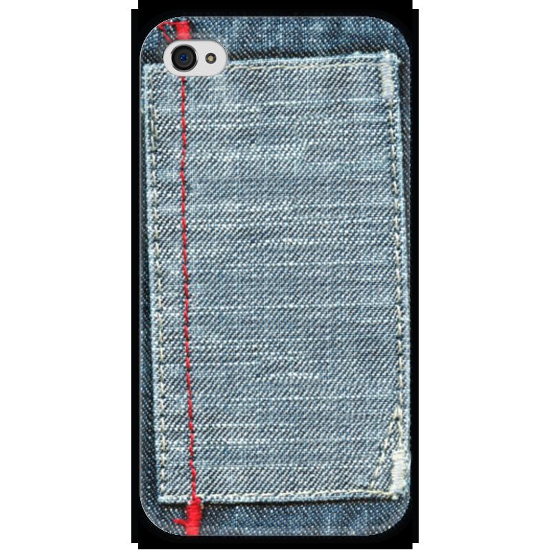 Чехол для iPhone 4 глянцевый, с полной запечаткой Printio Джинса