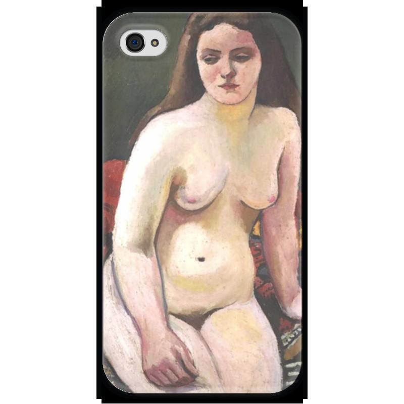 Чехол для iPhone 4 глянцевый, с полной запечаткой Printio Обнаженная на вязанном ковре (август маке) чехол для iphone 4 глянцевый с полной запечаткой printio шляпный магазин август маке
