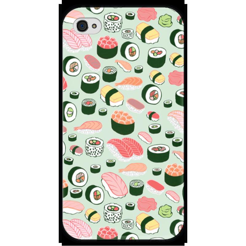Чехол для iPhone 4 глянцевый, с полной запечаткой Printio Я люблю суши! чехол для iphone 4 глянцевый с полной запечаткой printio эфиопка