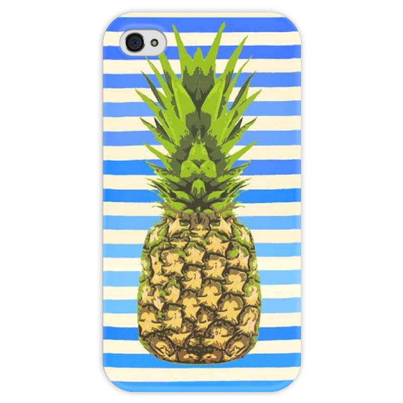 Чехол для iPhone 4 глянцевый, с полной запечаткой Printio Ананас чехол для карточек фламинго и ананас с усами дк2017 101
