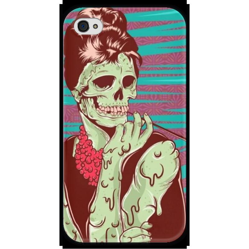 Чехол для iPhone 4 глянцевый, с полной запечаткой Printio Одри хепберн (зомби) женская сумка планшет с принтом черная коллекция elole design одри хепберн нат кожа