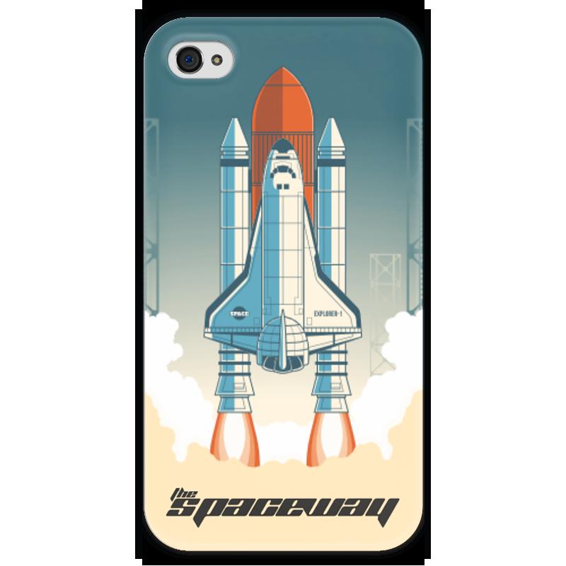 Чехол для iPhone 4 глянцевый, с полной запечаткой Printio Покорение космоса чехол для iphone 4 глянцевый с полной запечаткой printio эфиопка