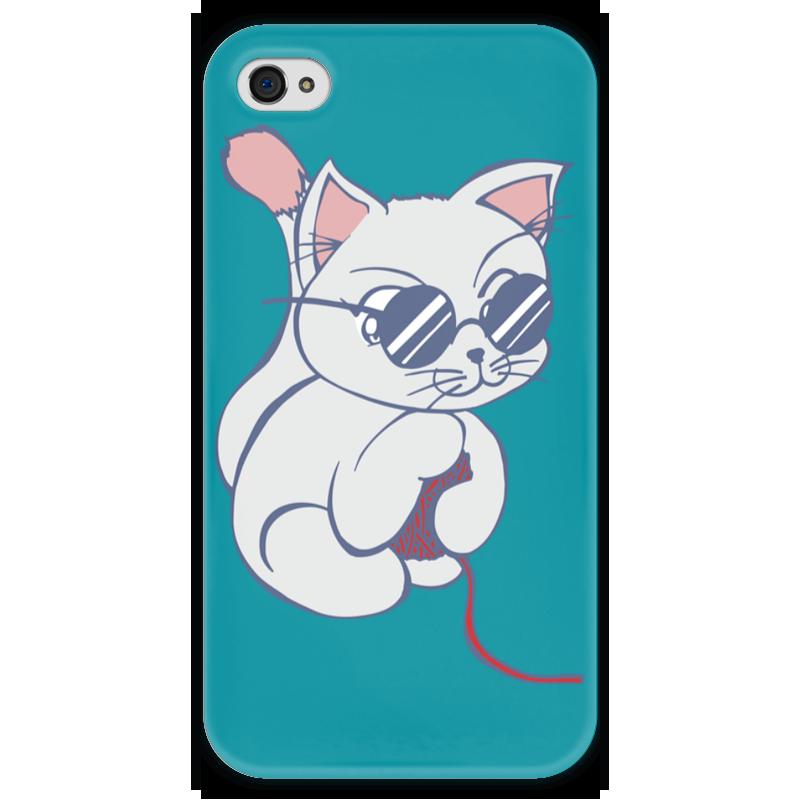 Чехол для iPhone 4 глянцевый, с полной запечаткой Printio Котенок с клубком качели gusio котенок