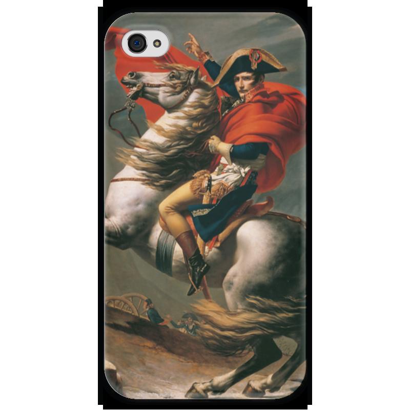 Чехол для iPhone 4 глянцевый, с полной запечаткой Printio Наполеон на перевале сен-бернар (жак-луи давид)