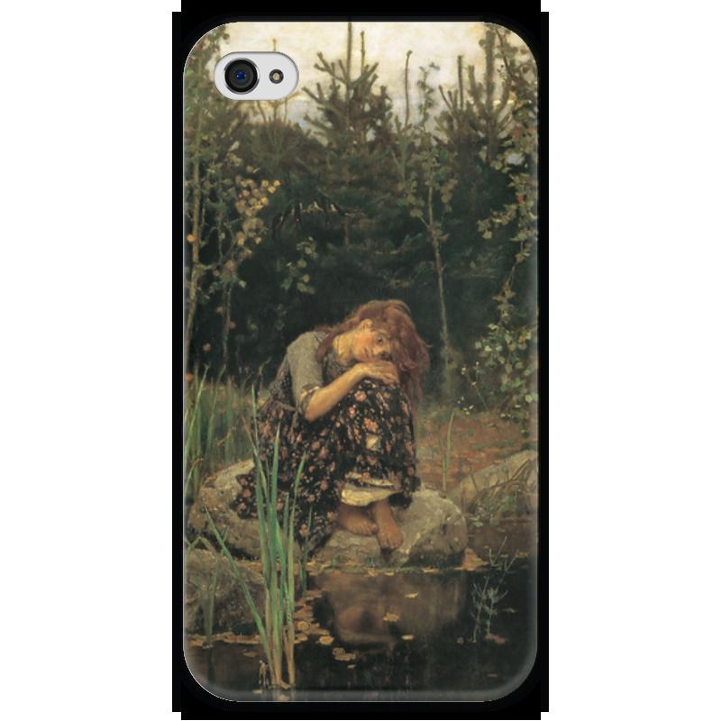 Чехол для iPhone 4 глянцевый, с полной запечаткой Printio Алёнушка (картина васнецова) чехол для iphone 6 глянцевый printio дама в голубом картина сомова