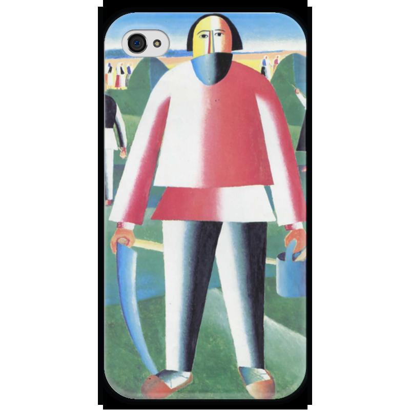 Чехол для iPhone 4 глянцевый, с полной запечаткой Printio Жнец (казимир малевич)