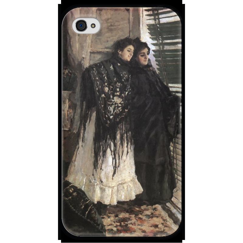 Чехол для iPhone 4 глянцевый, с полной запечаткой Printio У балкона. испанки леонора и ампара