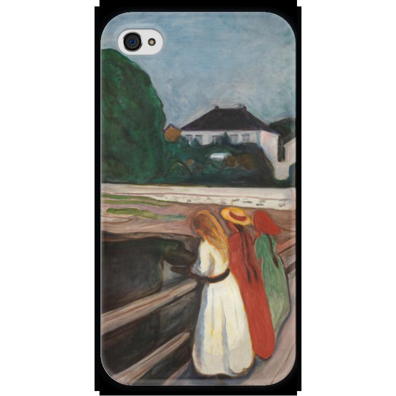 Чехол для iPhone 4 глянцевый, с полной запечаткой Printio Девушки на мосту вышивка на аничковом мосту