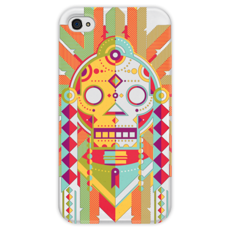 Чехол для iPhone 4 глянцевый, с полной запечаткой Printio Indian skull чехол для iphone 4 глянцевый с полной запечаткой printio skull girl