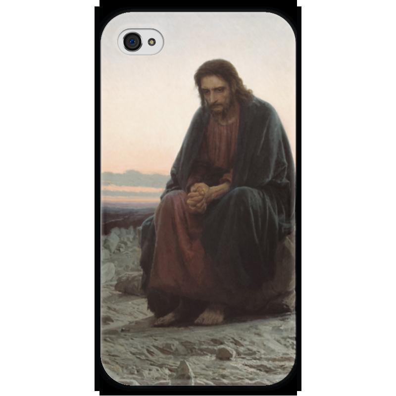 Чехол для iPhone 4 глянцевый, с полной запечаткой Printio Христос в пустыне (картина крамского) вышивка бисером молящийся христос