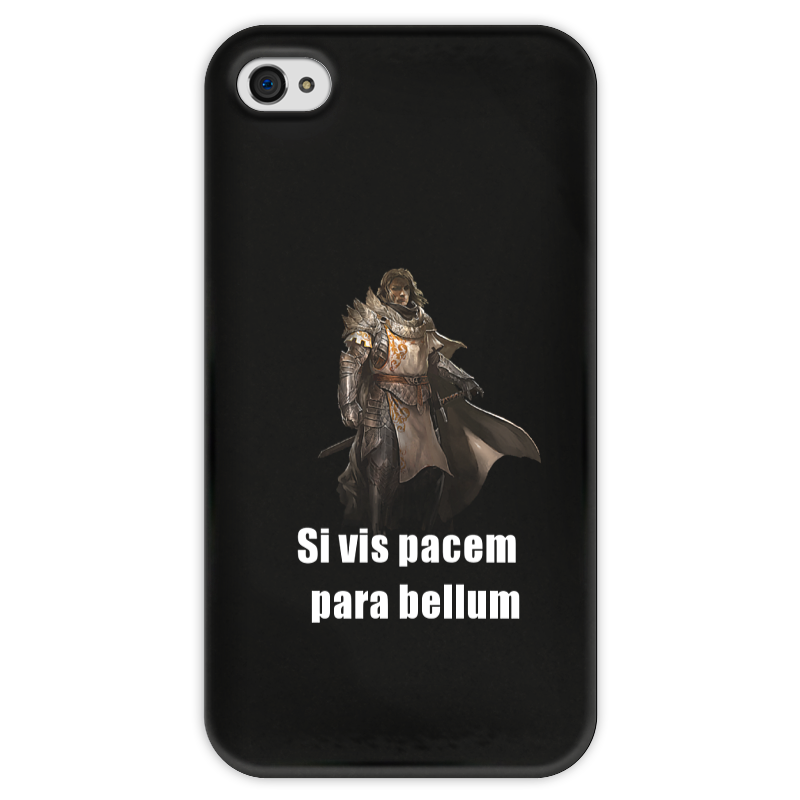 Чехол для iPhone 4 глянцевый, с полной запечаткой Printio Хочешь мира - готовься к войне чехол для samsung galaxy note 2 printio хочешь мира готовься к войне