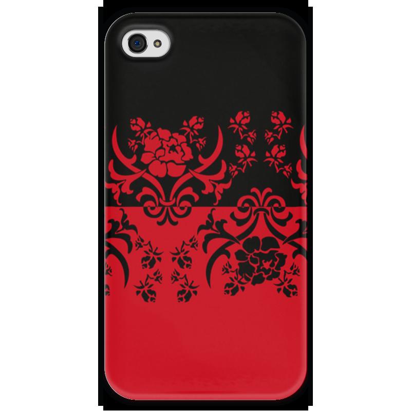 Чехол для iPhone 4 глянцевый, с полной запечаткой Printio Красно-черное чехол для iphone 4 глянцевый с полной запечаткой printio эфиопка