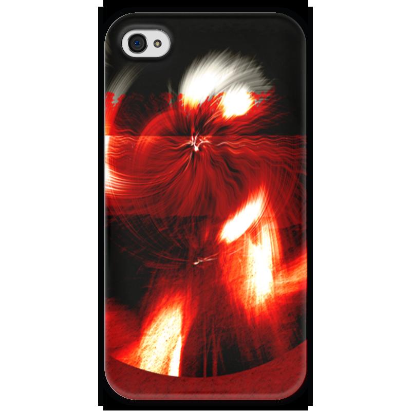 Чехол для iPhone 4 глянцевый, с полной запечаткой Printio Абстракция в красном круге