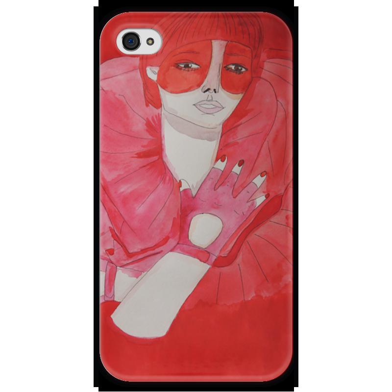 Чехол для iPhone 4 глянцевый, с полной запечаткой Printio Девушка в красном куплю еврозаборы в красном луче