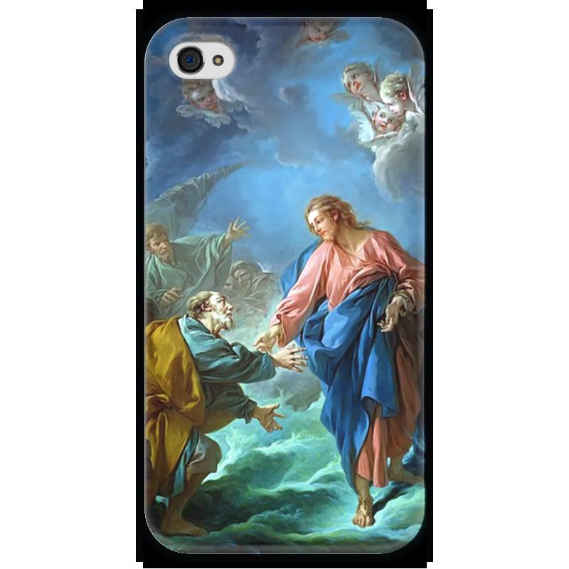 Чехол для iPhone 4 глянцевый, с полной запечаткой Printio Святой петр, пробующий идти по воде