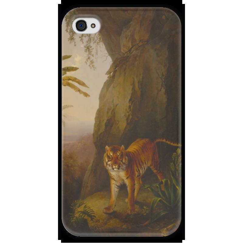Чехол для iPhone 4 глянцевый, с полной запечаткой Printio Тигр в пещере (жак-лоран агас) жак рейн в россии