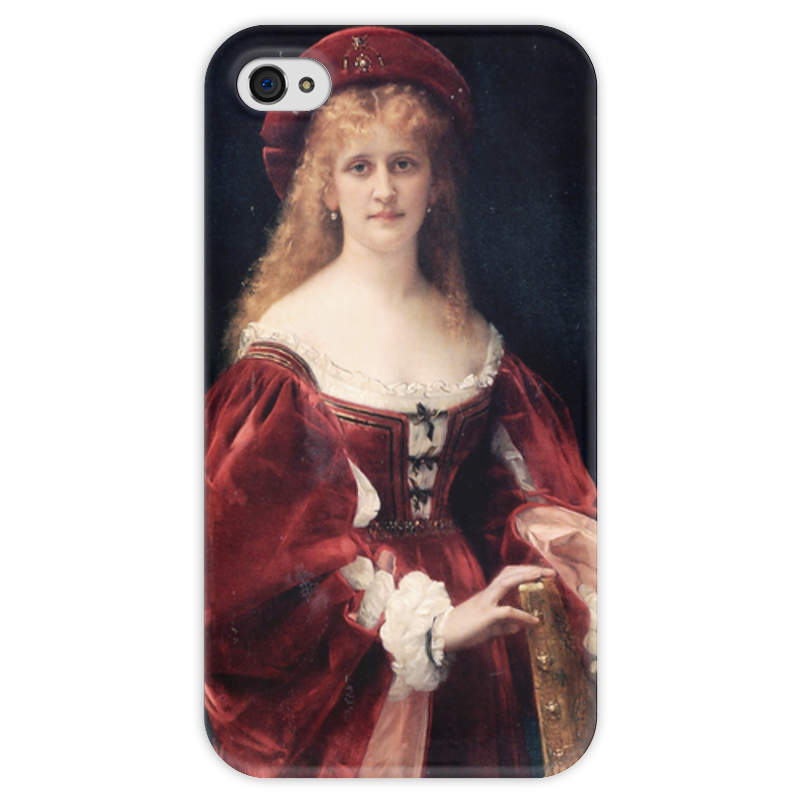 цена Чехол для iPhone 4 глянцевый, с полной запечаткой Printio Портрет аристократки из венеции