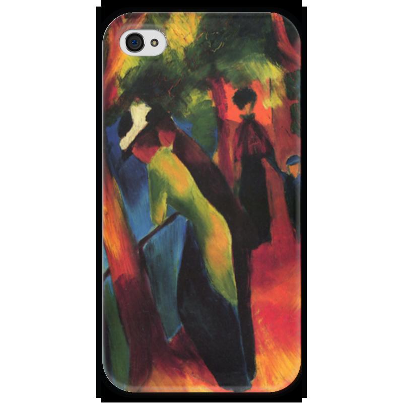 Чехол для iPhone 4 глянцевый, с полной запечаткой Printio Солнечная прогулка (август маке) чехол для iphone 4 глянцевый с полной запечаткой printio шляпный магазин август маке