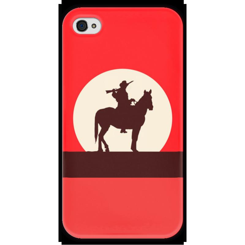 Чехол для iPhone 4 глянцевый, с полной запечаткой Printio Ковбой чехол для iphone 6 глянцевый printio молодая женщина в соломенной шляпе