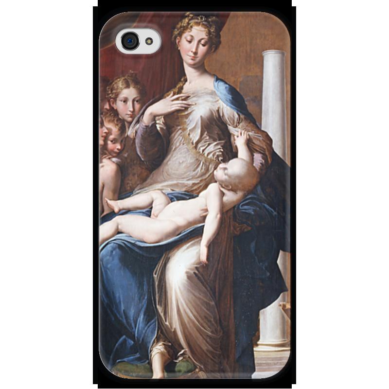 Чехол для iPhone 4 глянцевый, с полной запечаткой Printio Мадонна с длинной шеей (картина пармиджанино)