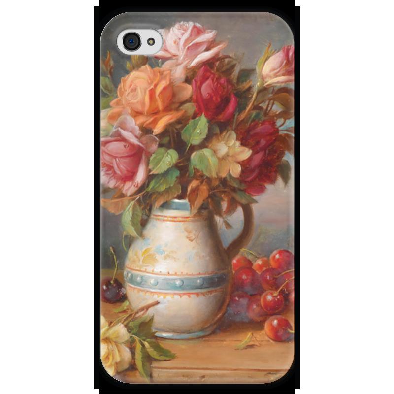 Чехол для iPhone 4 глянцевый, с полной запечаткой Printio Розы и вишни
