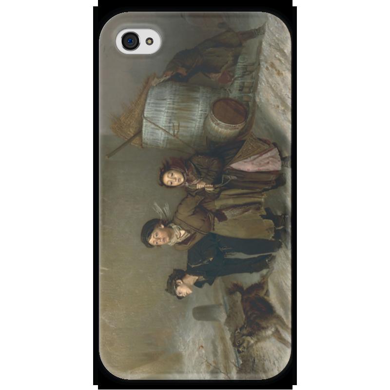 Чехол для iPhone 4 глянцевый, с полной запечаткой Printio Тройка (картина василия перова) теплые комбинезоны тройка для детей