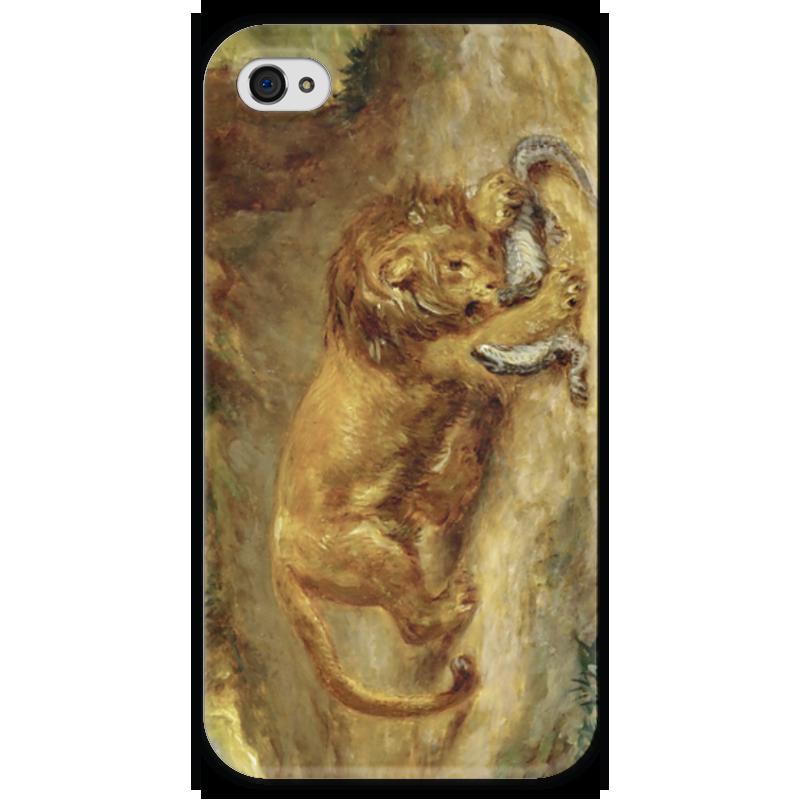 где купить Чехол для iPhone 4 глянцевый, с полной запечаткой Printio Лев и кайман по лучшей цене