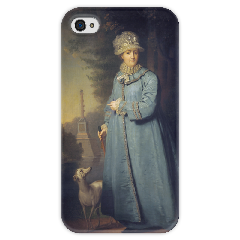 Чехол для iPhone 4 глянцевый, с полной запечаткой Printio Екатерина ii на прогулке в царскосельском парке