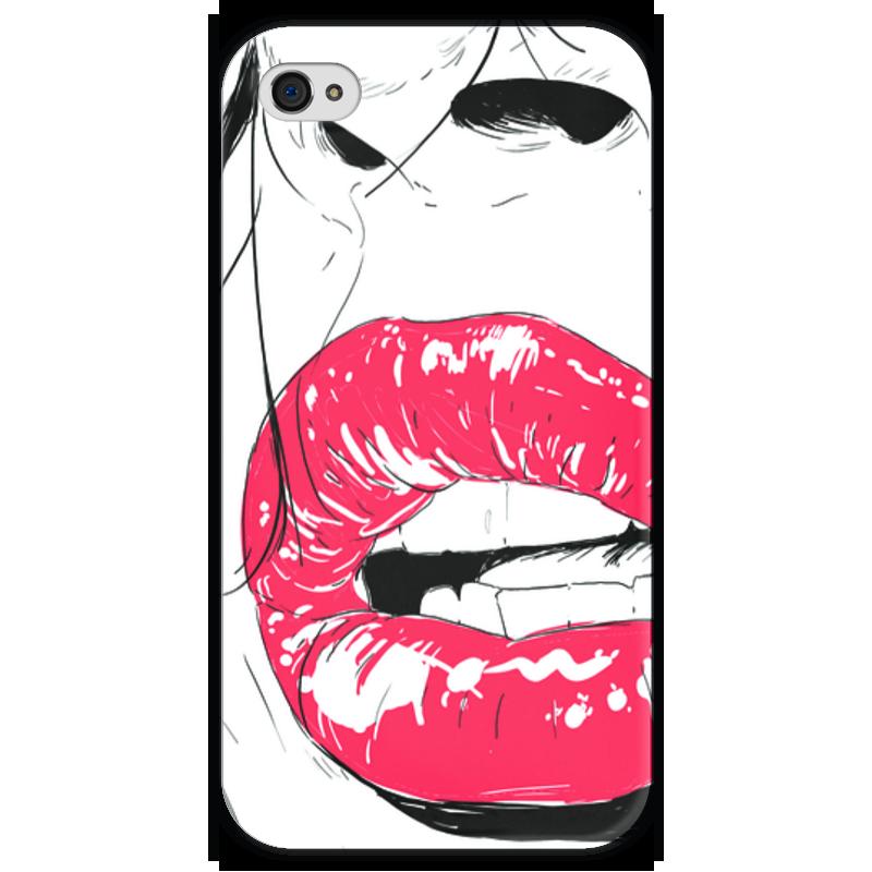 Чехол для iPhone 4 глянцевый, с полной запечаткой Printio  губы