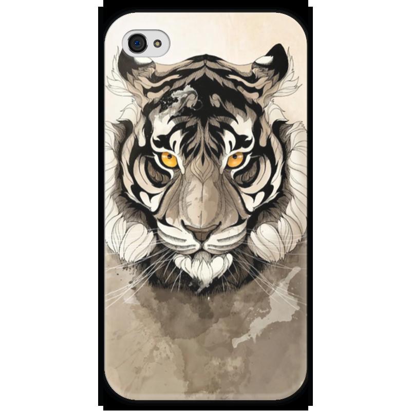 Чехол для iPhone 4 глянцевый, с полной запечаткой Printio Тигр чехол для iphone 4 глянцевый с полной запечаткой printio ананас