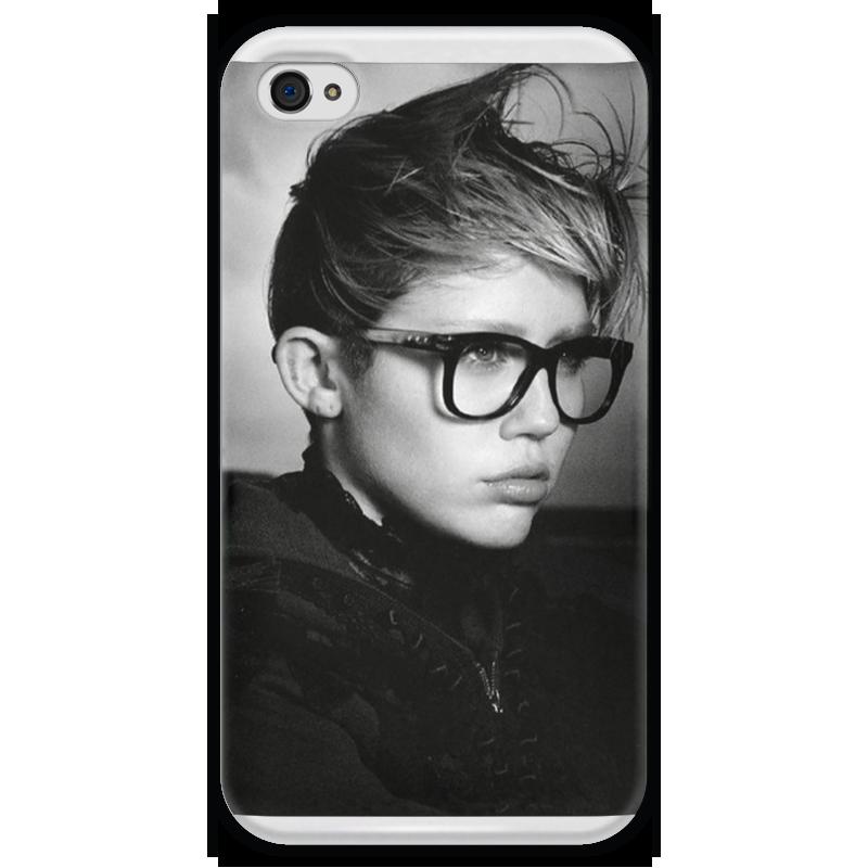 Чехол для iPhone 4 глянцевый, с полной запечаткой Printio Miley cyrus купить чехол на айфон 5 s disney
