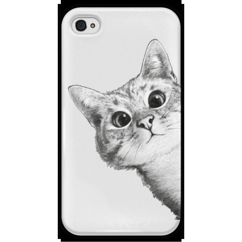 Чехол для iPhone 4 глянцевый, с полной запечаткой Printio Любопытный кот чехол для iphone 6 глянцевый printio кот бу