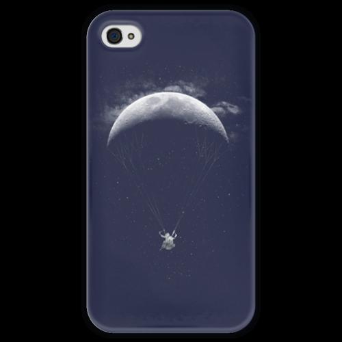 """Чехол для iPhone 4 глянцевый, с полной запечаткой """"Полет на Луне"""" - night, космос, ночь, луна, moon, iphone4"""