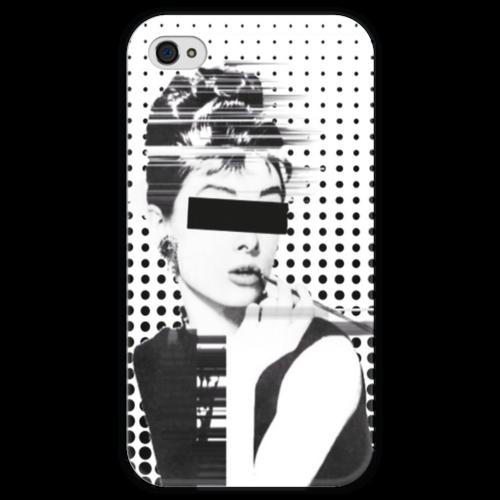 """Чехол для iPhone 4 глянцевый, с полной запечаткой """"AUDR3Y"""" - актриса, audrey hepburn, actress, одри хепбёрн, audrey"""