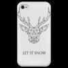 """Чехол для iPhone 4 глянцевый, с полной запечаткой """"Dear Deer"""" - рисунок, дизайн, олень, минимализм, рога"""