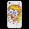 """Чехол для iPhone 4 глянцевый, с полной запечаткой """"Без ума от цветов"""" - любовь, девушка, цветы, сердца, блондинка"""