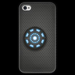 """Чехол для iPhone 4 глянцевый, с полной запечаткой """"Реактор от """"Stark Industrues"""""""" - железный человек, iron man, arc reactor"""