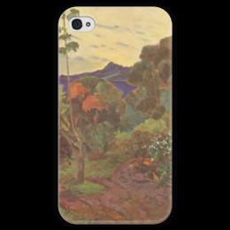 """Чехол для iPhone 4 глянцевый, с полной запечаткой """"Тропические растения"""" - картина, поль гоген"""
