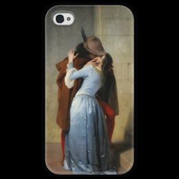 """Чехол для iPhone 4 глянцевый, с полной запечаткой """"Поцелуй (Франческо Айец)"""" - картина, поцелуй, айец"""