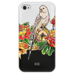 """Чехол для iPhone 4 глянцевый, с полной запечаткой """"Alba 4"""" - цветы, олд скул, птица, попугай, bird, пионы, роза ветров, parrot, компас, tm kiseleva"""