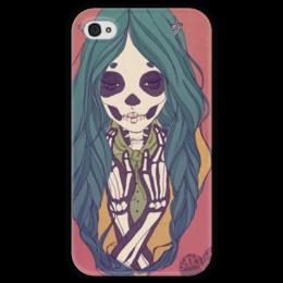 """Чехол для iPhone 4 глянцевый, с полной запечаткой """"Skeleton Girl"""" - череп, девушка, скилет, синие волосы, blue, skull, hair, girl"""