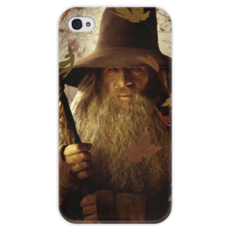 """Чехол для iPhone 4 глянцевый, с полной запечаткой """"Гэндальф"""" - кино, властелин колец, хоббит, hobbit, фродо"""
