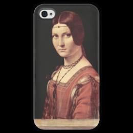 """Чехол для iPhone 4 глянцевый, с полной запечаткой """"Прекрасная Ферроньера"""" - картина, да винчи"""