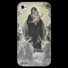 "Чехол для iPhone 4 глянцевый, с полной запечаткой ""La Vierge aux anges"" - картина, бугро"
