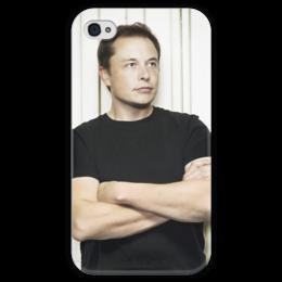 """Чехол для iPhone 4 глянцевый, с полной запечаткой """"Илон Маск"""" - космос, маск, spacex, вселенная, thespaceway"""
