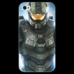 "Чехол для iPhone 4 глянцевый, с полной запечаткой ""HALO"" - xbox, научная фантастика, science fiction, halo, хало, microsoft game studios"